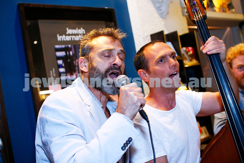 24-10-18. Eddie Tamir and Simon Starr belt out a tune at the opening of the 2018 Jewish Internatiuonal Film Festival JIFF at the Classic Cinema. Photo: Peter Haskin