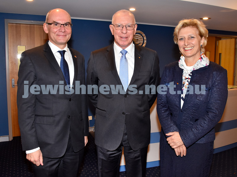 Jewish Life in Germany Today. From left: German Consul General Lothar Freischlader, Governor of NSW David Hurley, German Ambassador Dr Anna Prinz. Pic Noel Kessel
