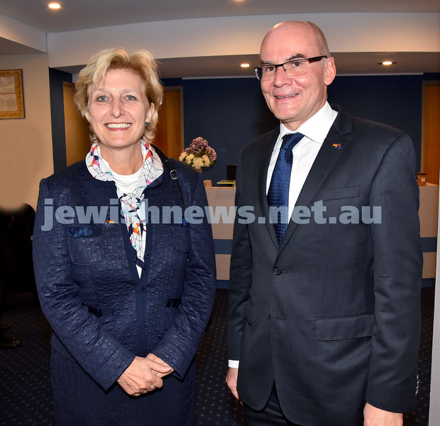 Jewish Life in Germany Today. German Ambassador Anna Prinz (left), German Consul General Lothar Freischlader. Pic Noel Kessel