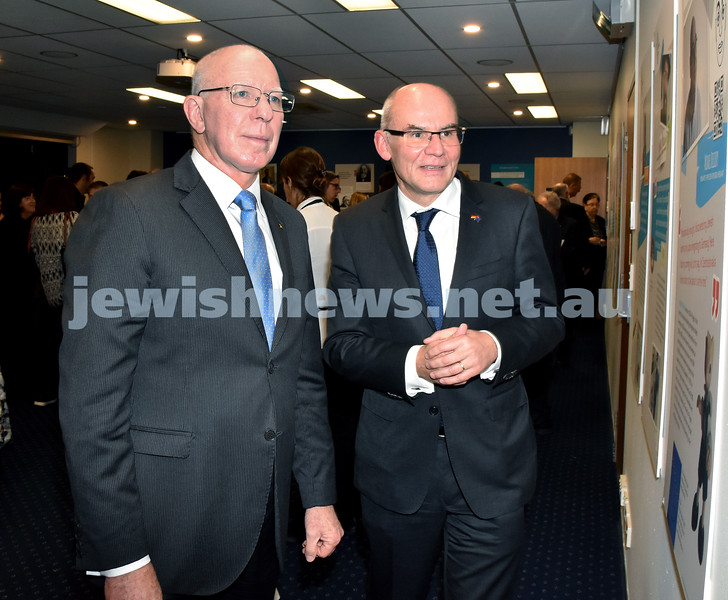 Jewish Life in Germany Today. His Excellency NSW Governor David Hurley (left) with German Consul General Lothar Freischlader. Pic Noel Kessel