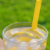 Simple glass of ice water with lemon slices and straw on a table. Taken outdoors with a out of focus grass background in soft sunlight.