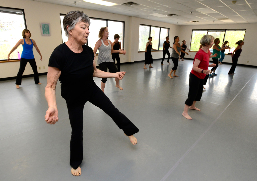 . Judith Holding works on dance steps in Jill Factor\'s Classic Nia Class at Kinesis Dance in Boulder on Tuesday. For more photos go to www.dailycamera.com  Paul Aiken Staff Photographer May 9, 2017
