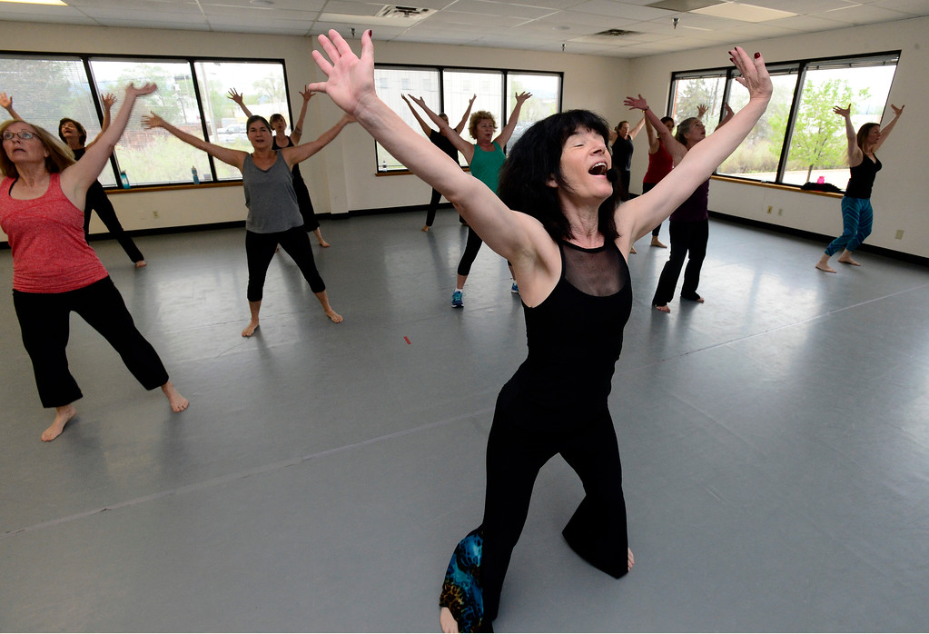 . Jill Factor leads her Classic Nia Class at Kinesis Dance in Boulder on Tuesday. For more photos go to www.dailycamera.com  Paul Aiken Staff Photographer May 9, 2017