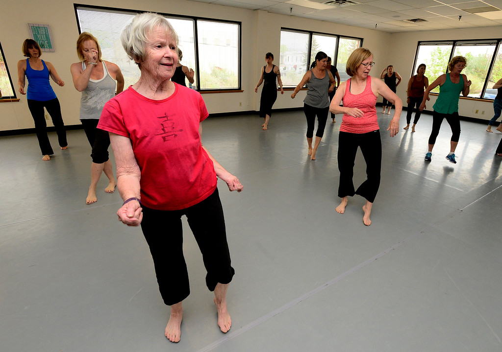 . Kay Cook works on a dance move in Jill Factor\'s Classic Nia Class at Kinesis Dance in Boulder on Tuesday. For more photos go to www.dailycamera.com  Paul Aiken Staff Photographer May 9, 2017
