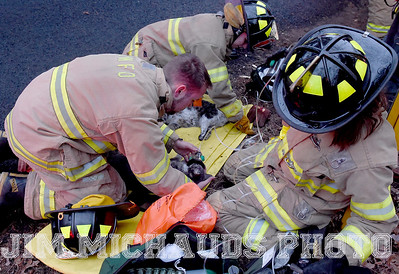 South Windsor firefighters work giving oxygen to cats that were rescued from a house fire, Tuesday, January 8, 2019, in South Windsor. The fire came in around 4pm at 234 Long Hill Road when a passing motorist noticed smoke coming from the house. Three dogs escaped when police arrived and opened the door. The three cats were removed by firefighters, 2 responded quickly to the oxygen they were given a third seemed to be unconscious as firefighters continued to work on him. The house sustained heavy damage to the kitchen and living room, the area around a wood stove sustained the heaviest damage, Chief Kevin Cooney said. The house was deemed uninhabitable and the residents are staying with other family members Cooney said. (Jim Michaud / Journal Inquirer)