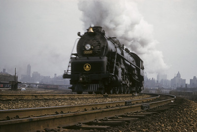 2016.020.17.02--jim neubauer 35mm kodachrome--B&O--steam locomotive 4-8-2 5555 on passenger train action at 16th Street--Chicago IL--1957 0331