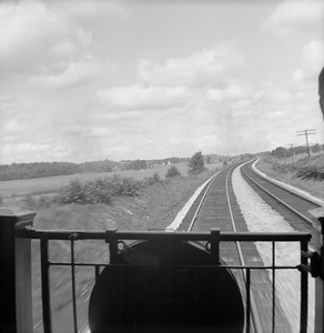 2016.020.99.075--jim neubauer 120 neg--B&O--view from rear of Railroad Club of Chicago fantrip train at speed--somewhere in OH--1950 0820