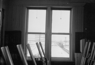 2016.020.98.001--jim neubauer 828 neg--GTW--view from interlocking tower of approaching EMD diesel passenger train--location unknown--c1952 0000
