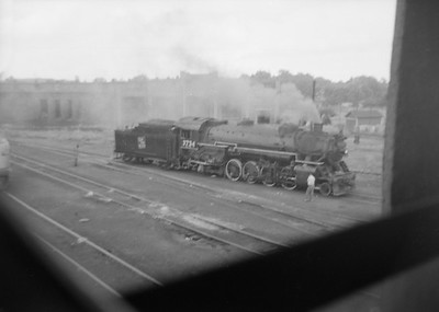 2016.020.99.205--jim neubauer 6x9 neg--GTW--view from coal chute steam locomotive 2-8-2 S-3-a 3734 at shops--Battle Creek MI--1950 0716
