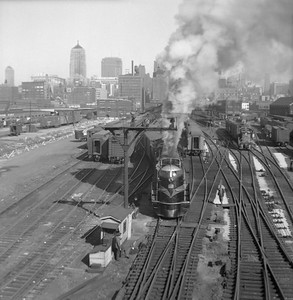 2016.020.99.020--jim neubauer 120 neg--GTW--steam locomotive 4-8-4 U-4-b 6406 on passenger train at Dearborn Street station action--Chicago IL--c1952 0000