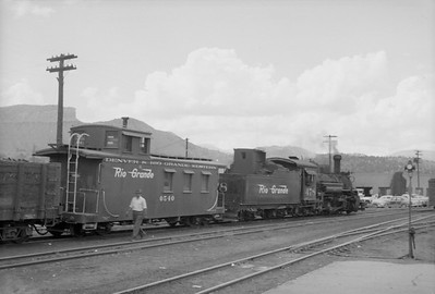 2016.020.98.247--jim neubauer 828 neg--D&RGW--steam locomotive 2-8-2 K-28 278 switching cars in yard--Durango CO--c1952 0000
