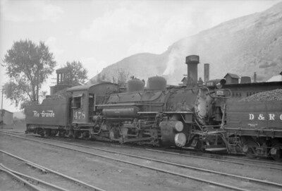 2016.020.98.248--jim neubauer 828 neg--D&RGW--steam locomotive 2-8-2 K-28 278 switching cars in yard--Durango CO--c1952 0000