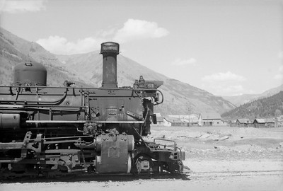 2016.020.98.231--jim neubauer 828 neg--D&RGW--steam locomotive 2-8-2 K-28 478 detail on The Silverton--Silverton CO--c1952 0000