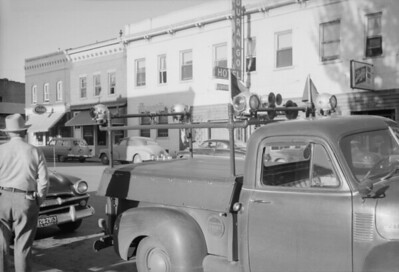 2016.020.98.244--jim neubauer 828 neg--D&RGW--early railfan truck on city street--Durango CO--c1952 0000