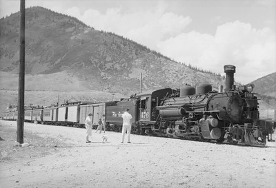 2016.020.98.246--jim neubauer 828 neg--D&RGW--The Silverton arrived with steam locomotive 2-8-2 K-28 276--Silverton CO--c1952 0000