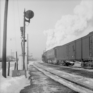 2016.020.99.135B--jim neubauer 120 neg--NYC--steam locomotive 4-6-4 J1d 5232 on passenger train action--Englewood IL--c1951 0000