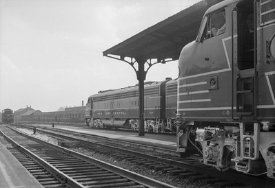 2016.020.98.261--jim neubauer 828 neg--NYC--two sections of 50th Anniversary 20th Century Ltd passenger train ready to depart from LaSalle Street station--Chicago IL--1952 0615
