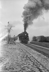 2016.020.98.112--jim neubauer 828 neg--NYC--steam locomotive 4-6-4 5440 4-6-4 J3a on Commodore Vanderbuilt passenger train--Englewood IL--1953 0118