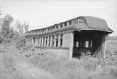 2016.020.98.036--jim neubauer 828 neg--NP--abandoned wooden passenger car body--Hooppole IL--c1952 0000