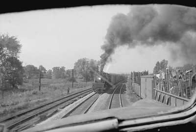 2016.020.98.141--jim neubauer 828 neg--CRI&P--view from cab at approaching train--location unknown--c1952 0000