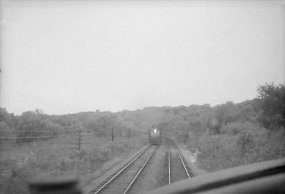 2016.020.98.137--jim neubauer 828 neg--CRI&P--view from cab at approaching train--location unknown--c1952 0000