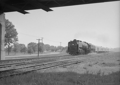 2016.020.98.040--jim neubauer 828 neg--UP--steam locomotive on passenger train 70--Camp Funston KS--c1953 0000
