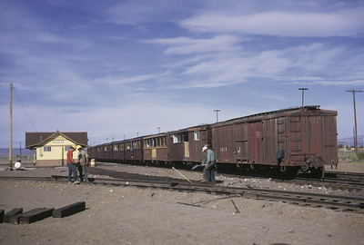 2016.020.50.23--neubauer 35mm kodachrome--C&TS--first season passenger boxcar coaches at startion--Antonito CO--1971 0700