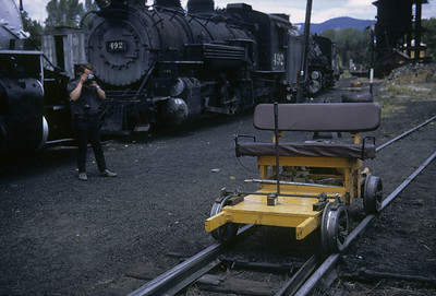 2016.020.50.29--neubauer 35mm kodachrome--C&TS--first season track speeder in yard--Chama NM--1971 0700