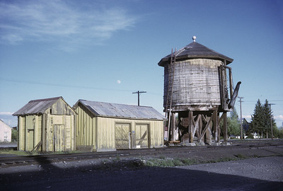 2016.020.50.06--neubauer 35mm kodachrome--D&RGW--water tank and section shed--Antonito CO--1971 0700