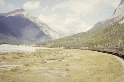 2016.020.08.06--jim neubauer 35mm kodachrome--CP--view from The Mountaineer passenger train in the Rockies--Field BC--1958 0900