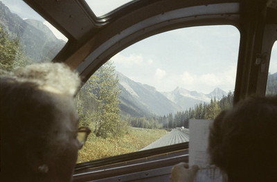 2016.020.08.07--jim neubauer 35mm kodachrome--CP--view from The Mountaineer passenger train in the Rockies--location unknown--1958 0900