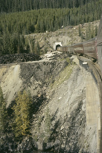2016.020.08.09--jim neubauer 35mm kodachrome--CP--view from The Mountaineer passenger train at spiral tunnel in the Rockies--near Field BC--1958 0900