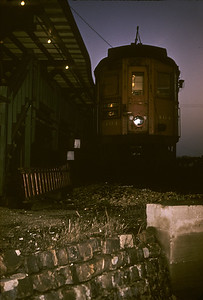 2016.020.13.1957-10--neubauer 35mm kodachrome--CA&E--electric interurban 404 at end of track at station platform--Forest Park IL--1957 0424