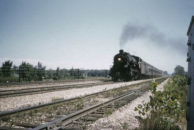 2016.020.01.1955-038--jim neubauer 35mm kodachrome--C&NW--steam locomotive 4-6-2 E-2 2906 on Northwest Passage passenger train action--Palatine IL--1955 0800