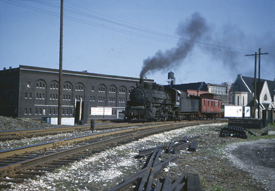 2016.020.01.1952-018--jim neubauer 828 kodachrome--C&NW--steam locomotive 0-6-0 2624 with caboose hop--Chicago IL--1952 0601