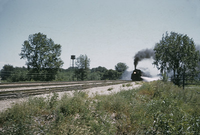 2016.020.01.1955-035--jim neubauer 35mm kodachrome--C&NW--steam locomotive 4-6-2 E-S 663 on commuter passenger train--Palatine IL--1955 0800