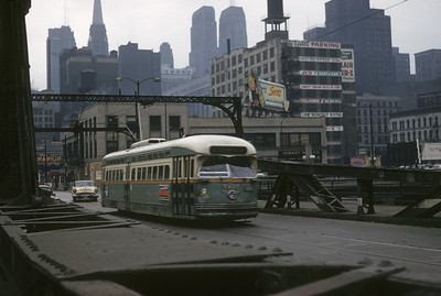 2016.020.14.27--neubauer 35mm kodachrome--CSL--PCC car on Dearborn Street at the Chicago River--Chicago IL--1957 0208