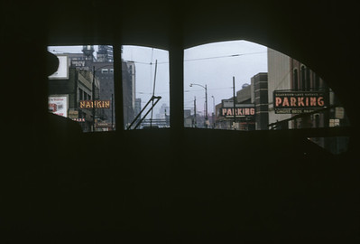 2016.020.14.23--neubauer 35mm kodachrome--CSL--view from PCC car at Dearborn Street and Wacker Drive--Chicago IL--1957 0207