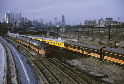 2016.020.04.22--jim neubauer 35mm kodachrome--ICRR--EMD diesel locomotive 4042 light power with passenger special train passing at 12 Street--Chicago IL--1968 1000