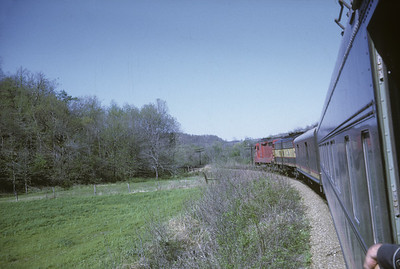 2016.020.17.18--jim neubauer 35mm kodachrome--KCS--view from Southern Belle passenger train 2 somewhere in MO Ozarks--location unknown--1968 0400