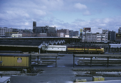 2016.020.17.04--jim neubauer 35mm kodachrome--KCS--Union Station yard scene with EMD diesel locomotive--Kansas City MO--1968 0400