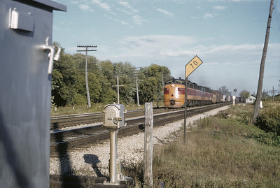 2016.020.02.1955-14--neubauer 35mm kodachrome--CMStP&P--diesel locomotive EMD on freight train action--Brookfield WI--1955 1000