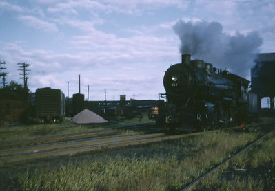 2016.020.02.1952-1--neubauer 35mm kodachrome--CMStP&P--steam locomotive 767 in yard scene--Savanna IL--1952 0900