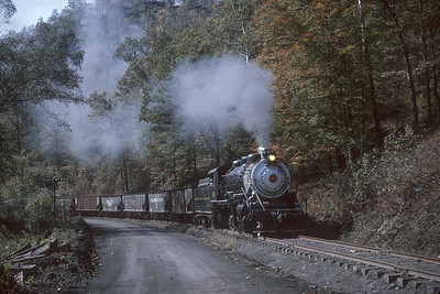 2016.020.52.05--jim neubauer 35mm kodachrome--BC&G--steam locomotive 2-8-0 14 en route to Widen with coal empties action--near Dundon WV--1962 1000