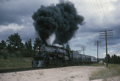 2016.020.54.22--jim neubauer 35mm kodachrome--CB&Q--NRHS Convention fantrip runby with steam locomotive 4-8-4 5632--location unknown--1963 0900