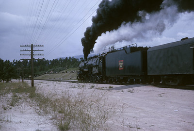 2016.020.54.23--jim neubauer 35mm kodachrome--CB&Q--NRHS Convention fantrip runby with steam locomotive 4-8-4 5632--location unknown--1963 0900