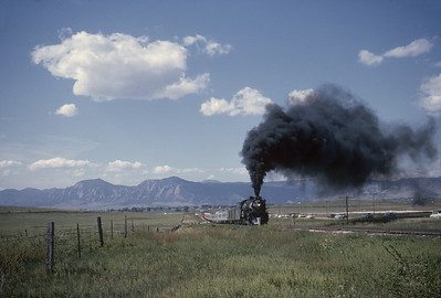 2016.020.54.24--jim neubauer 35mm kodachrome--CB&Q--NRHS Convention fantrip runby with steam locomotive 4-8-4 5632--location unknown--1963 0900