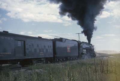 2016.020.54.15--jim neubauer 35mm kodachrome--CB&Q--NRHS Convention fantrip runby with steam locomotive 4-8-4 5632--location unknown--1963 0900