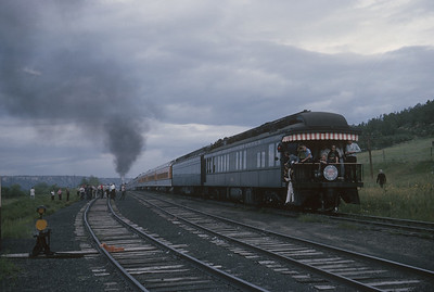 2016.020.54.04--jim neubauer 35mm kodachrome--CB&Q--NRHS Convention fantrip runby with steam locomotive 4-8-4 5632--location unknown--1963 0900