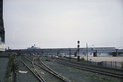 2016.020.20.27--jim neubauer 35mm kodachrome--NYC--Laurentian and Empire State Express passenger train scene on bridge--Albany NY--1965 0600